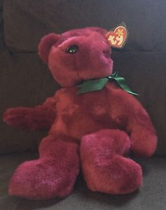 RARE #Retired #Teddy TY Beanie Buddy 2000 Cranberry with Tag Protector