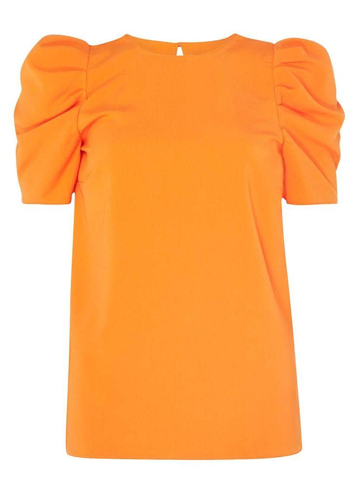 Womens **Tall Orange Puff Sleeve Top- Orange