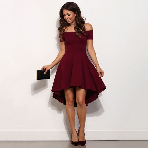 Burgundy Prom Dresses, High Low Prom Dress, A-line Off-the-shoulder Short Homecoming Dresses, Modest Satin Asymmetrical Party Dresses, #020103520