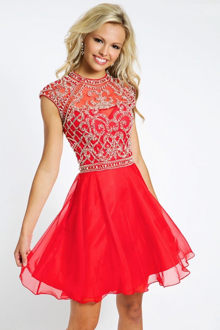 2015 Unique Homecoming Dresses A Line Scoop Short/Mini With Beadings Chiffon