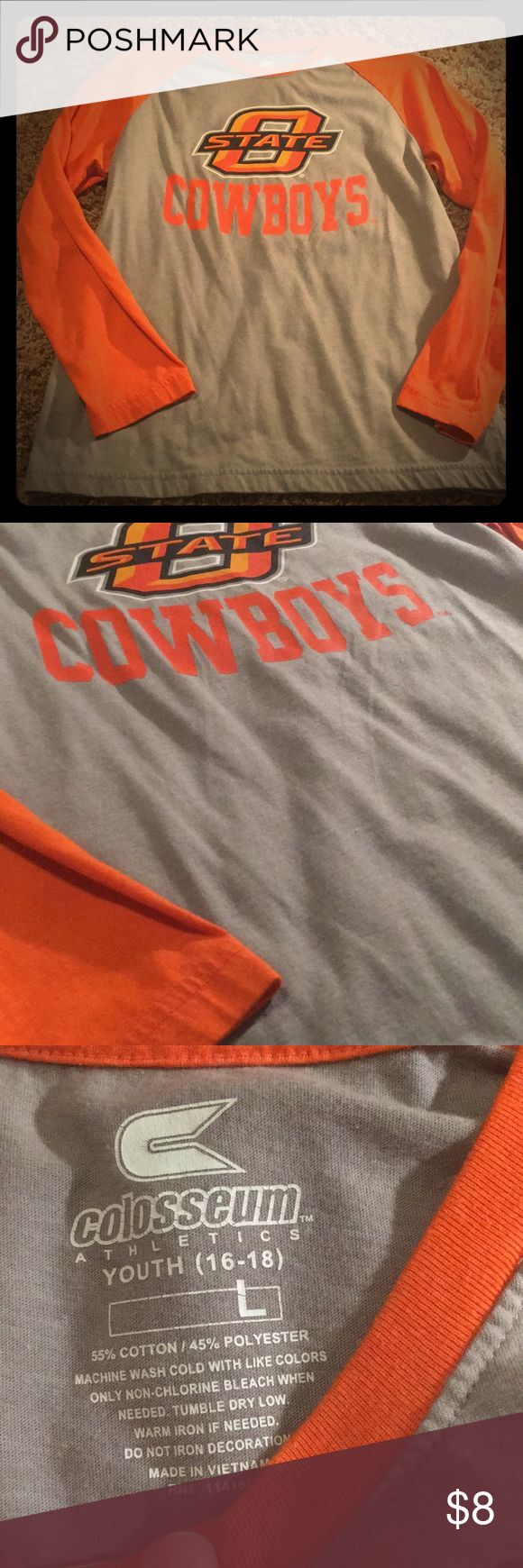 OSU Baseball Tee Oklahoma State Cowboys baseball T-shirt. Size youth large (16-18). Like new, only worn a few times. Orange sleeve with gray body. 3/4 sleeves. Colosseum Shirts & Tops Tees - Long Sleeve