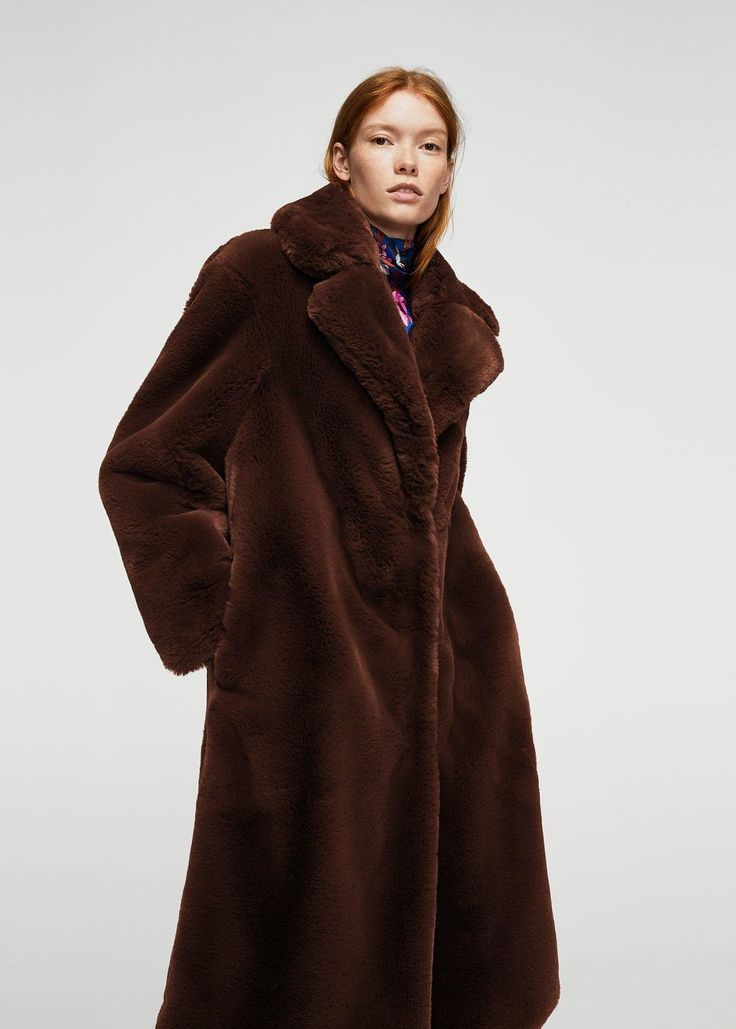 Lapels faux fur coat | MANGO