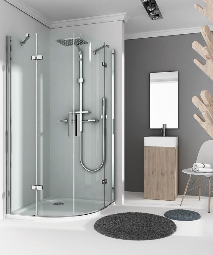 Mampara de ducha Angular Apertura de Puerta Plegable Antical 100x90cm