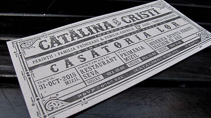 train ticket style wedding invitation #letterpress #vintage