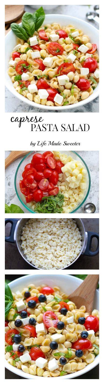 Caprese Pasta Salad The easiest & most delicious caprese pasta salad. Perfect for summer potlucks & BBQ's.