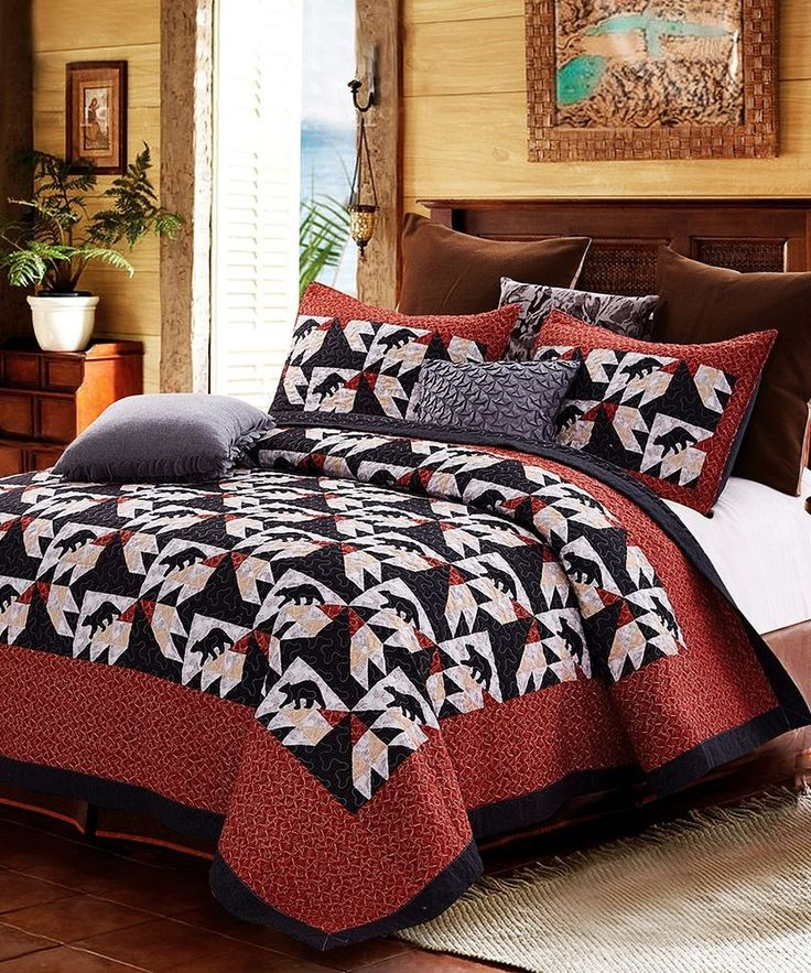 Patchwork Black Bear Rustic Lodge Twin Full/Queen or King Size Quilt Set | Home & Garden, Bedding, Quilts, Bedspreads & Coverlets | eBay!