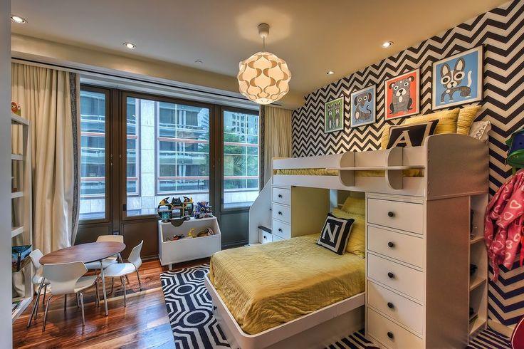 Contemporary Kids Bedroom with interior wallpaper, Hardwood floors, High ceiling, Pendant Light, Carpet
