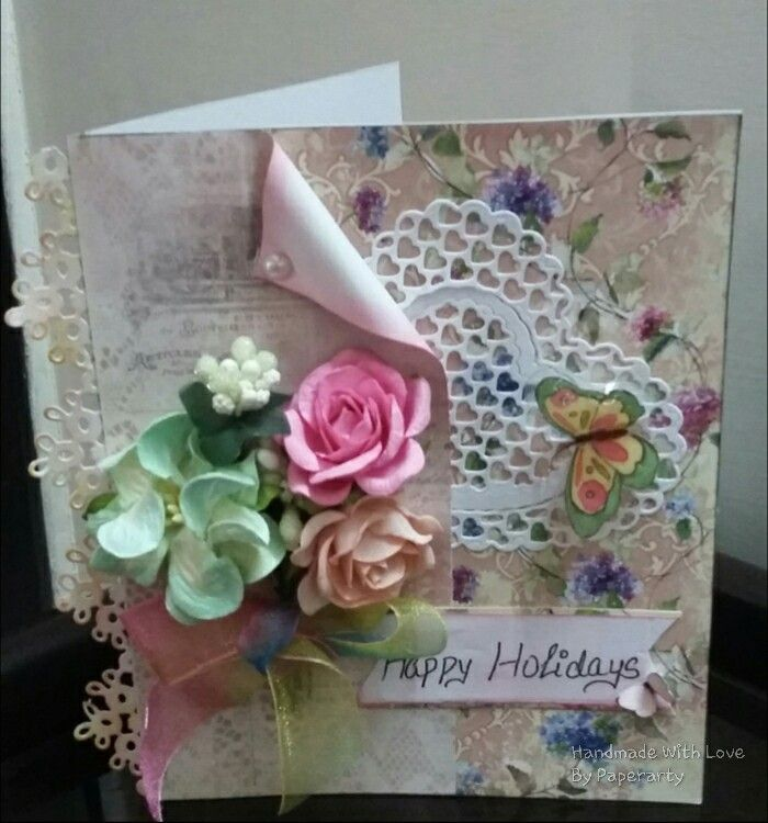Happy Holidayssss....Yipeee. Handmade Card. FB Page- Handmade With Love By Paperarty.