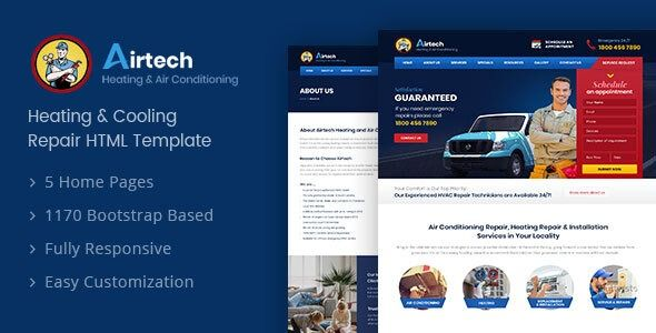 Airtech Hvac Html Template Wordpress Theme Free Wordpress