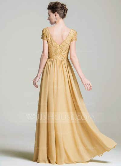 A-Line/Princess V-neck Floor-Length Beading Appliques Lace Sequins Zipper Up Sleeves Short Sleeves No 2016 Gold Spring Summer Fall General Plus Chiffon Mother of the Bride Dress