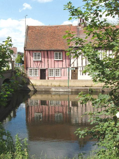 Cottages by the River Colne, Colchester (C) David Hawgood
