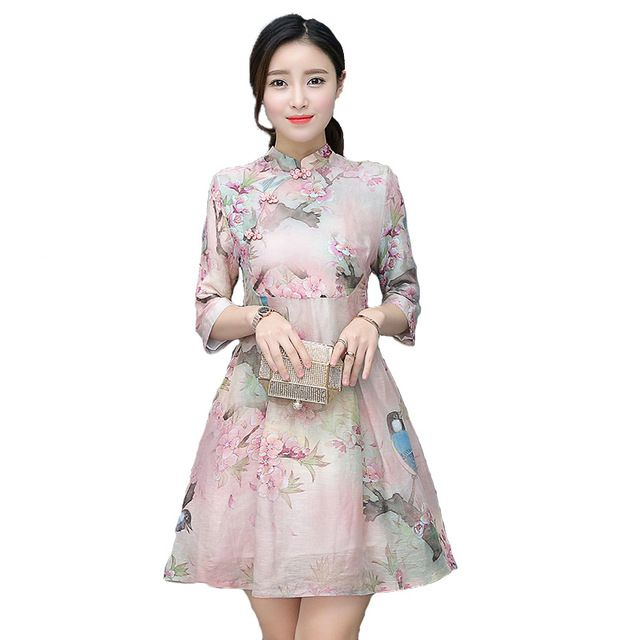 Fasbys 2017 Spring Autumn Vintage Flower Print Chinese Traditional Short Qipaos Wedding Dress Stand Neck Cheongsam for Ladies