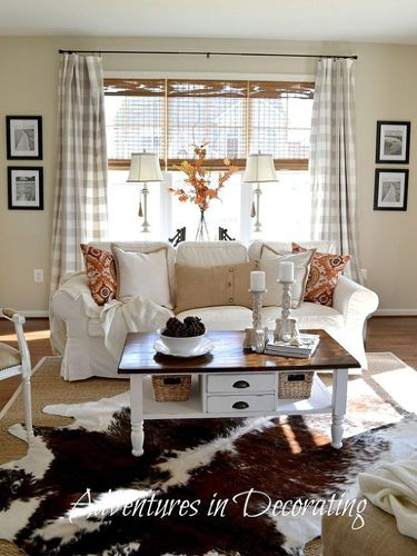 Fall Living Room Makeover - Hometalk Decorating Ideas - Country Living.  Love the bamboo blinds and the curtains.