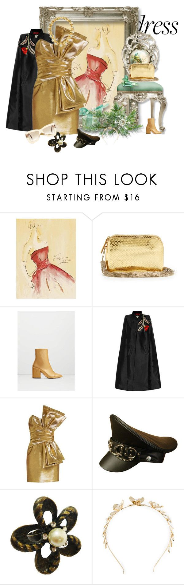 """Bare Essentials"" by peeweevaaz ❤ liked on Polyvore featuring The Row, MANGO, RVDK, Yves Saint Laurent, Rosantica, outfit, polyvoreeditorial, partystyle, offshoulderdress and polyvorefashion"