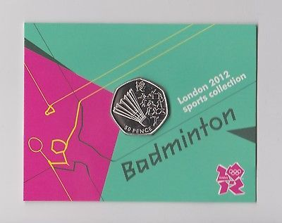 #Badminton - rare 50p olympic 2012 london #fifty #pence uncirculated coin in fold,  View more on the LINK: 	http://www.zeppy.io/product/gb/2/322393123541/