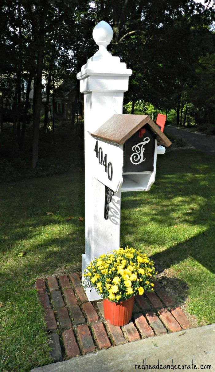Beautiful Mailbox Makeover using Modern Masters Front Door Paint by redheadcandecorate.com #FrontDoorPaint