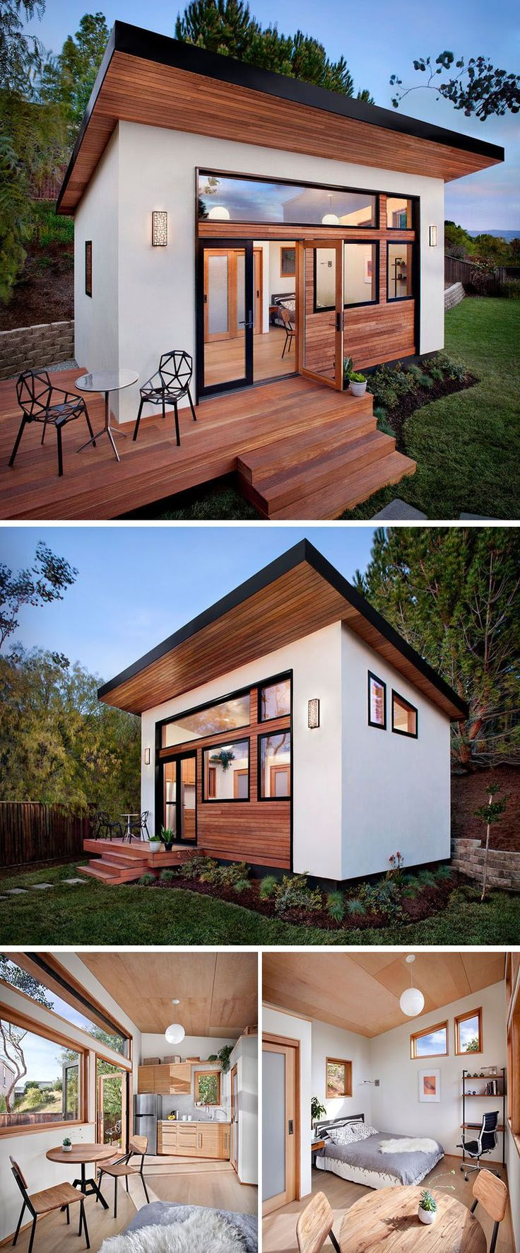 This small guest house was prefabricated before being put together in the backyard of this home and features a kitchen, bathroom, dining spot, sleeping area, and desk space.