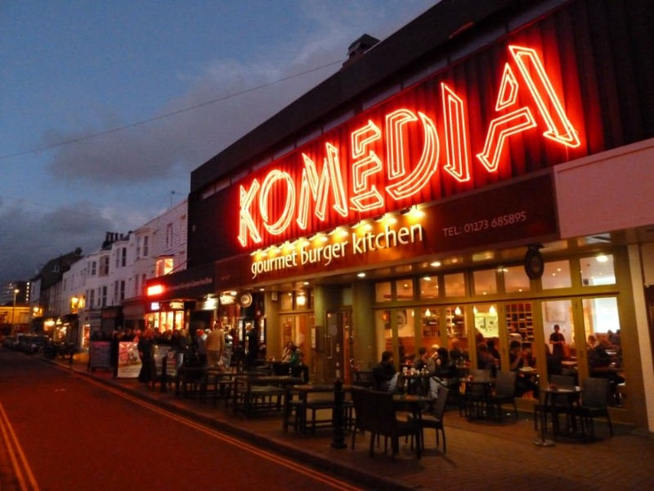 """The neon lights of the famous Brighton Komedia"" Felix Dennis"