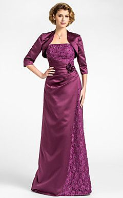 Sheath/Column Strapless Floor-length Lace And Satin Mother ... – USD $ 199.99