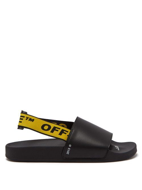174d9f66416 OFF-WHITE OFF-WHITE - INDUSTRIAL STRAP LEATHER SLIDES - MENS - BLACK MULTI.   off-white  shoes