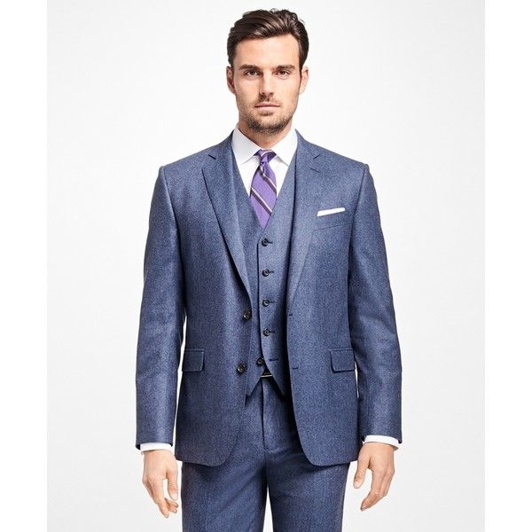 Brooks Brothers Regent Fit Three-Piece Flannel 1818 Suit (10.532.495 IDR) ❤ liked on Polyvore featuring men's fashion, men's clothing, men's suits, blue, mens 3 piece suits, mens blue 3 piece suit, mens blue suit, brooks brothers mens clothing and brooks brothers men's suits
