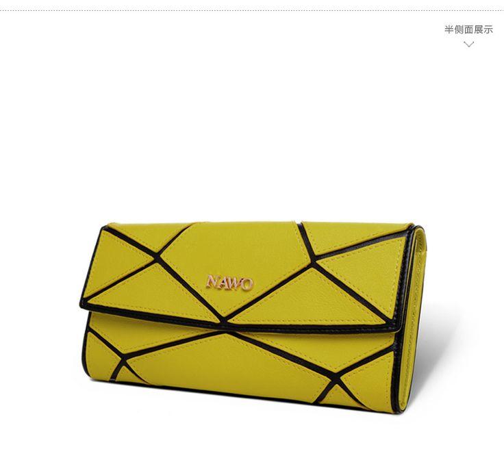 НАЖО бренд коровьей долго бумажник способа конструкции геометрическими узорами женские графический лоскутные подлинные кожаный бумажник T169 ...