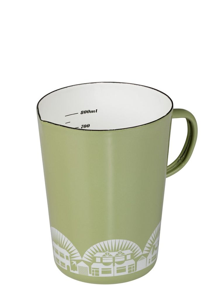 A must have for any enthusiastic cook, this enamelware jug features highlighted elements from Mini Moderns' Paisley Crescent wallpaper in signature British Lichen colourway.800ml capacity...