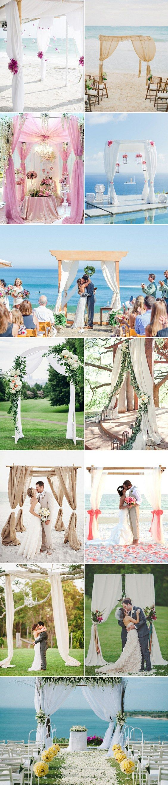Drape Decor Beach Wedding Arches / http://www.himisspuff.com/wedding-arches-wedding-canopies/8/
