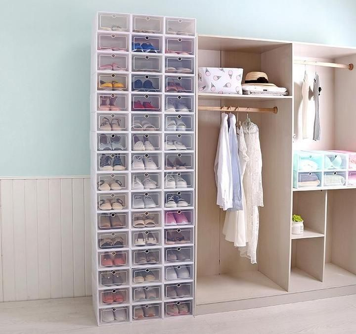 Shoe Box Organizer 12 Pieces Stacking Storage Boxes Shoe Box Organizer Shoe Box