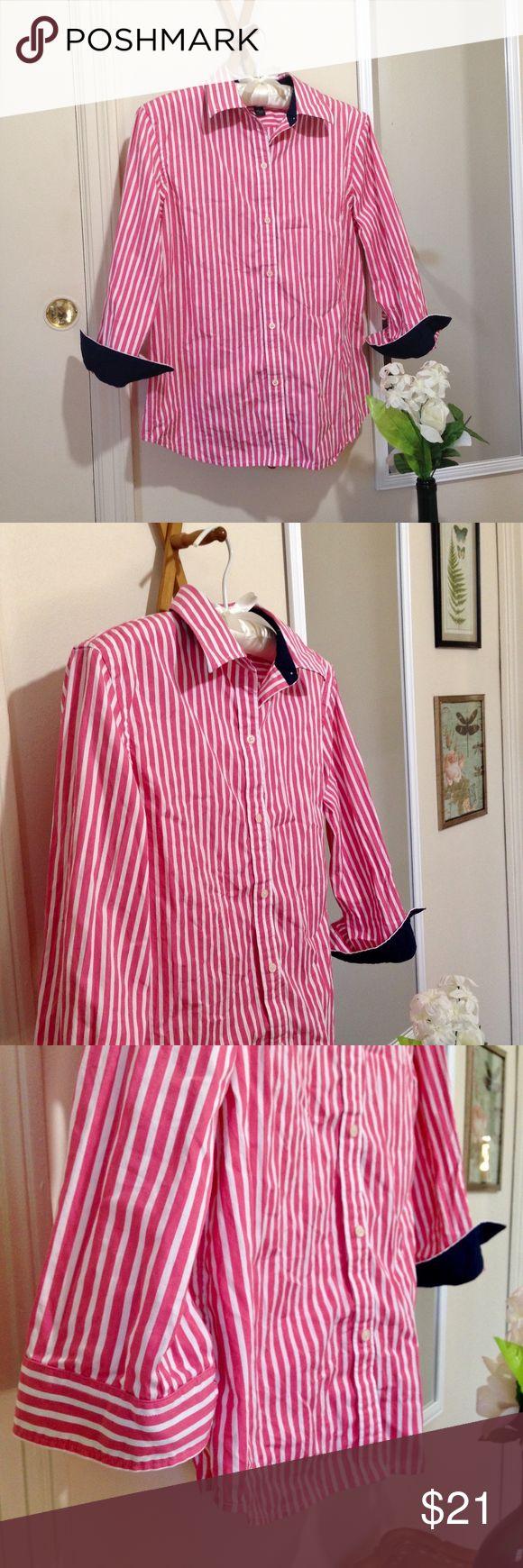 Women's RALPH LAUREN Button Down Size Medium LAUREN Ralph Lauren. Women's button down blouse size medium. Dusty, salmon like pink & white stripe w/ navy blue lining on interior of cuffs & collar. 3/4 length sleeves. Fitted cut. Cotton. Great condition. Lauren Ralph Lauren Tops Button Down Shirts #oxfordwomens