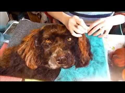 Needle Felt Dog Portrait Tutorial Timelapse Felt Picture - YouTube