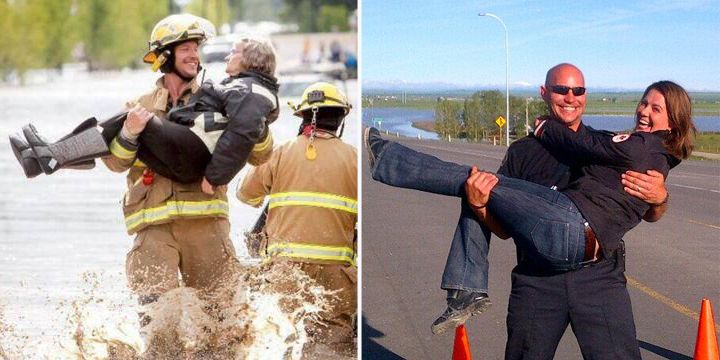 This morning, Danielle got to meet Shawn Wiebe, the Nanton firefighter photographed rescuing an elderly lady from rushing flood waters in #HighRiver with a beaming smile on his face.  The photo has become one of the iconic images of the #abflood rescue efforts. Wiebe has been nicknamed the Ridiculously Photogenic Firefighter.  Just like the lady in High River, Shawn swept Danielle off her feet!