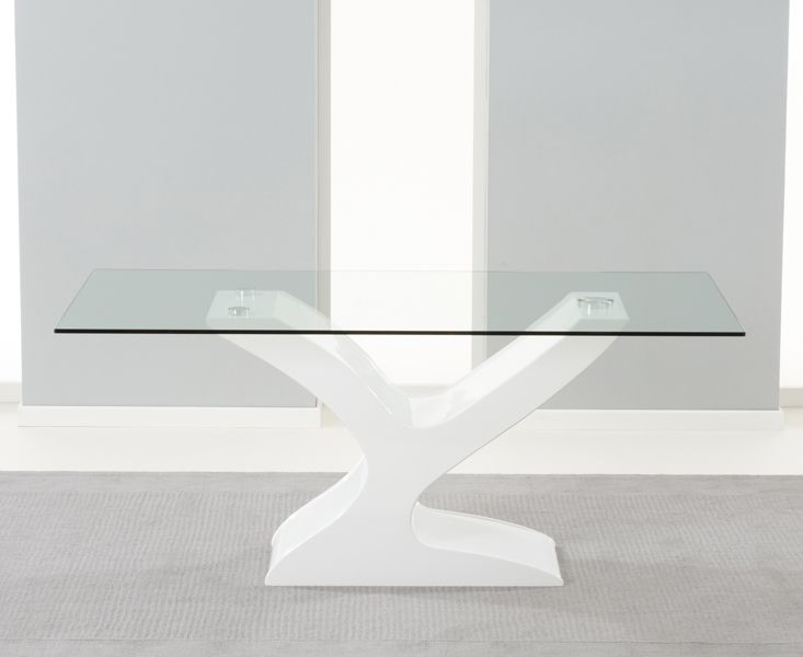 buy the nevada 180cm white high gloss and glass dining table with hampstead z chairs at