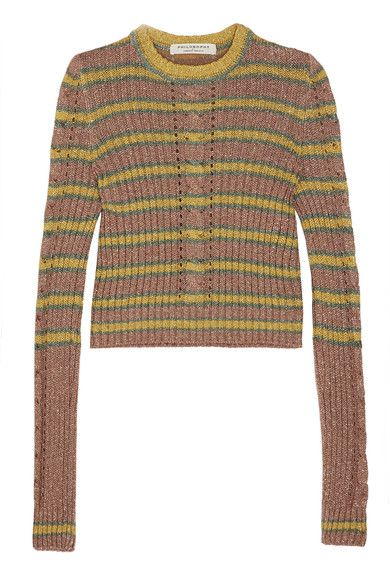 Multicolored cable-knit Slips on 80% rayon, 20% polyester; lining: 95% polyamide, 5% other fibers Dry clean Made in Italy