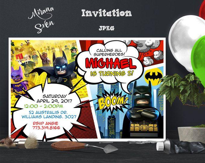 Invitación de Lego Batman, Lego Batman cumpleaños, fiesta de Lego Batman, Lego Batman película invita, invitaciones imprimibles de Lego, Lego invitaciones
