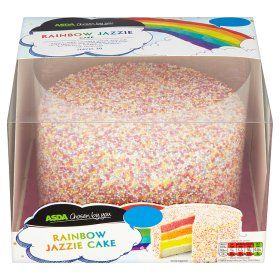 ASDA Chosen by you Rainbow Jazzie Cake for Amelia and put my little pony cake toppers on top