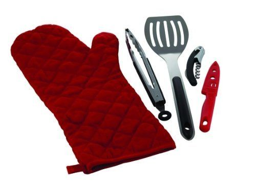 Char-Broil Glove Tool Kit by Char-Broil. $12.13. Great gift item for camping and/or tailgating enthusiasts. Heat resistant glove. Spatula, knife, tongs, and corkscrew included.. The Char-Broil Glove Tool Kit is a handy grill mit and 4 piece tool set designed to fit inside the pouch.  The set includes the heat resistant glove, spatula, tongs, knife, and corkscrew.  This is a great all-in-one easy use item for camping and/or tailgating.