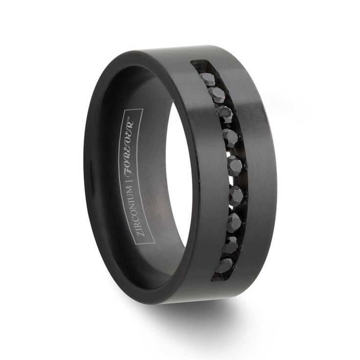 CHEVELLE 6MM / 8MM   Channel Set Black Diamond Wedding Band