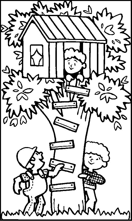 creating the tree house in the summer coloring picture for kids