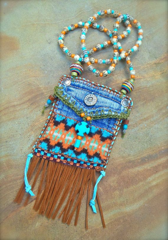 Mini Denim Aztec MEDICINE bag Native American INDIAN medicine bag, CROSS charm turquoise Shaman necklace Fringe necklace.