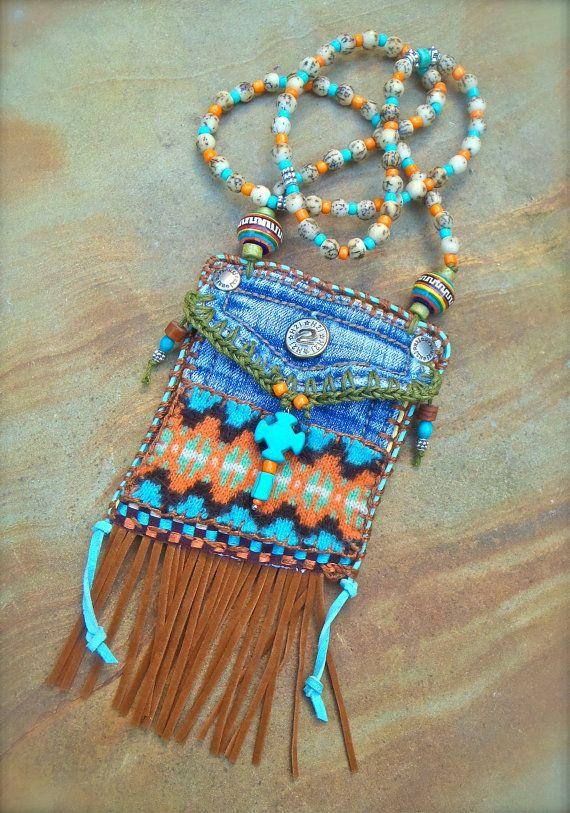 Mini Denim Aztec MEDICINE bag Native American INDIAN medicine bag, CROSS charm turquoise Shaman necklace Fringe necklace.