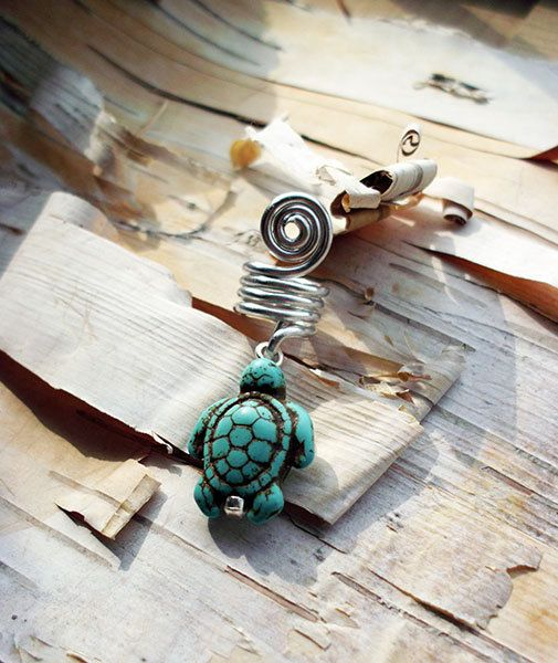 Turquoie Turtle Silver Dread Charm ADD to your DREADS Dreadlock Accessory Extension Accessories Dread Boho Bohemaian Hippie Bead