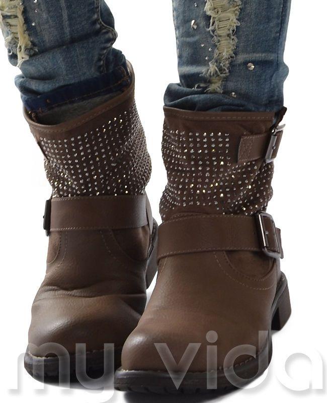 Stivali donna stivaletti anfibi biker strass fibia S-Bik01 in Abbigliamento e accessori, Donna: scarpe, Altre scarpe da donna | eBay