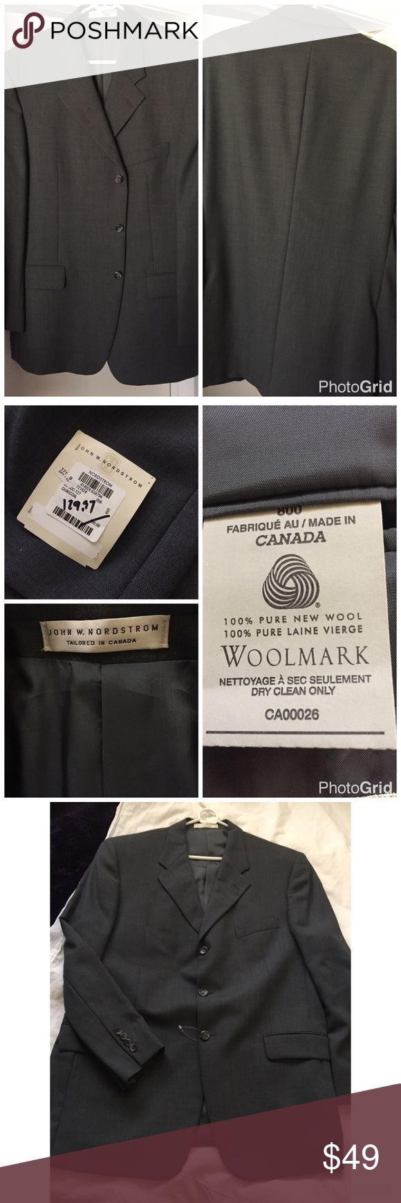John W Nordstrom Sport Jacket👔 Tailored in Canada 🇨🇦, very classic nice 3 button sports coat color is charcoal. 💯% pure new wool 💯% pure Laine vierge. Fully lined with inside pockets. Front pockets unstitched. Really nice jacket. A little thread out of place see last pic you really can't tell, any measurements please ask before purchase 😍 John W. Nordstrom Suits & Blazers Sport Coats & Blazers