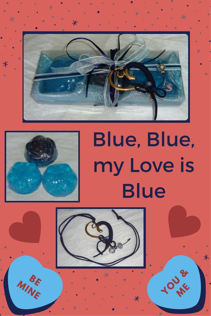 """Blue, blue, my world is blue .... For the lovers of blue, the song """"Love Is Blue"""" (here by Vicky Leandros https://www.youtube.com/watch?v=TvR7psJ6uEM) is the ideal sound background for this blue special romantic Valentine's Day gift. A unique, not expensive but unusual valentine gift, in Light Blue-Aquamarine: Two light Blue and one dark Blue Fine Scented Luxury Soaps, Jasmine scent, with a lovely Gold and Dark Blue Handmade Heart Jewelry Necklace in the packaging."""