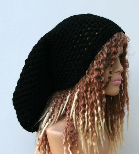 #Rasta #dread #tam #hat #super #long #black or #other #color by #PurpleSageDesignz