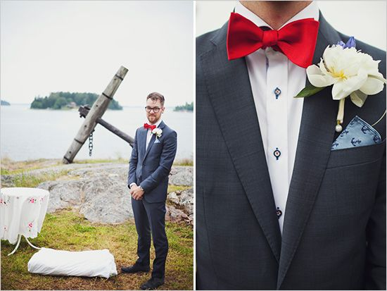 #nautical wedding groom style with a touch of red... Wedding ideas for brides, grooms, parents  planners ... https://itunes.apple.com/us/app/the-gold-wedding-planner/id498112599?ls=1=8 … plus how to organise an entire wedding ♥ The Gold Wedding Planner iPhone App ♥