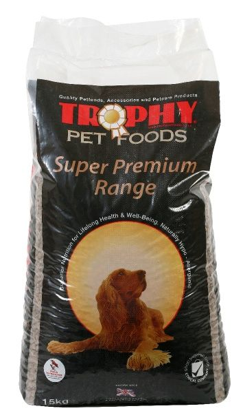 Trophy Premium Large Breed  Specifically designed for the needs of large and giant breeds. Contains less fat than most other foods to help maintain a healthy weight for less joint stress also contains a high  quality, animal based protein source to maintain muscle and a very good carbohydrate  blend to help sustain energy throughout the day, without peaks. Contains the Trophy  Joint Aid Pack for healthy joints