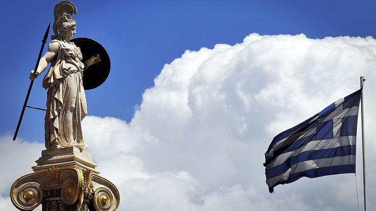 deusa atenas e a bandeira da grécia