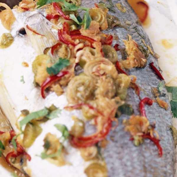 Steamed sea bream in a paper parcel